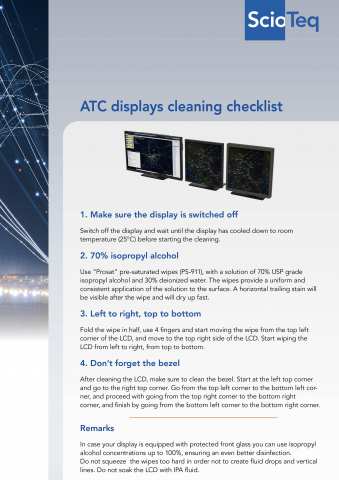 ATC displays cleaning checklist